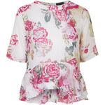Topshop T-Shirt mit Rosen-Print und Rüschen - Elfenbein