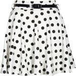 BOOHOO Slonovinová puntíkatá sukně Shreya