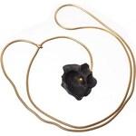 Hanuš Lamr Pozlacený náhrdelník Květ - černý