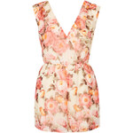 Topshop **Multicoloured Floral Wrap Playsuit by Rare