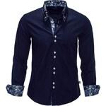Pánská tmavě modrá košile CARISMA 8173 dlouhý rukáv slim fit