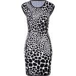 Michael Kors Intarsia Knit Animal Print Cap Sleeve Dress