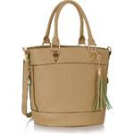 FASHION ONLY Dámská elegantní kabelka se zlatým zdobením béžová