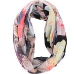 Černý květovaný dutý šátek Pieces Jacaoya