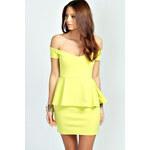 BOOHOO Limetkové šaty s peplum volánem Ria