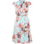 LA FEMME Květinové tříčtvrteční šaty v aqua odstínu