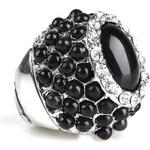LA FEMME Černý prsten s krystaly a korálky
