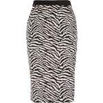 LA FEMME Elegantní sukně s černobílým animal potiskem