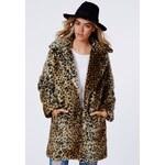 MISSGUIDED Luxusní leopardí kožešinový kabát Kylie