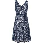 QUIZ LONDON Lesklé tmavě modré krajkové šaty