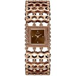Guess Hodinky Brown and Rose Gold-Tone Sparkle Cuff Watch