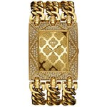 Guess Hodinky Gold-Tone Glitz Chain-Link Watch