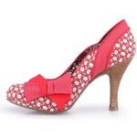 Bílo-červené vzorované boty na podpatku s mašlí Ruby Shoo Millie