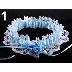 Stoklasa Podvazek dámský ozdobný šíře v rozmezí od 60 - 80mm krajkový (1 ks) - 1 modrá jemná