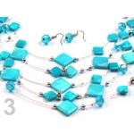 Stoklasa Náhrdelník a náušnice na lanku se čtverečky LINDA (1 sada) - 3 blue zirkon