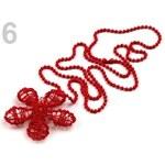 Stoklasa Náhrdelník s drátovanou květinou Ø45mm (1 ks) - 6 červená