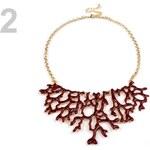 Stoklasa Kovový náhrdelník design KORÁL (1 ks) - 2 červenohnědá