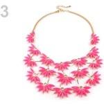 Stoklasa Kovový náhrdelník s květy a kamínky (1 ks) - 3 růžová neon