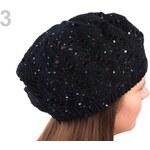 Stoklasa Pletený ažurový baret s flitry (1 ks) - 3 černá