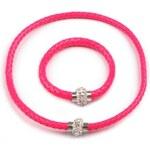 Stoklasa Splétaný náhrdelník a náramek sada (1 sada) - růžová neon
