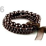 Stoklasa Náramek z voskovaných perel LINDA (1 ks) - 6 hnědá tm.