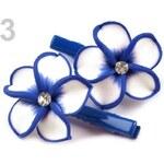 Stoklasa Vlasová sponka 30x50mm s ozdobou FIMO květina (1 pár) - 3 modrá královská