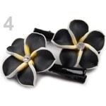 Stoklasa Vlasová sponka 30x50mm s ozdobou FIMO květina (1 pár) - 4 černá