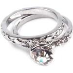 Stoklasa Sada prstenů s kamínkem 2ks (1 sada) - Ø19 stříbrná