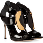 Sergio Rossi Patent Leather Shield Stiletto Sandals