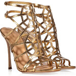 Sergio Rossi Metallic Leather Cage Sandals