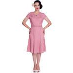 INGRID růžové puntíkované šaty - 40.léta - Retro šaty