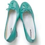 Blancheporte Barevné balerínky na klínovém podpatku smaragdová