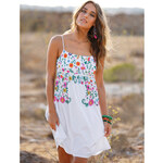 Venca Krátké šaty s barevným potiskem bílá