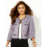 Venca Krátké sako s kontrastními lemy fialová