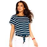 Venca Pruhované tričko na zavázání modrá