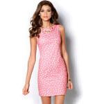 Venca Puntíkaté pouzdrové šaty bez rukávů růžová