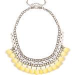 Venca Plochý náhrdelník s korálky žlutá