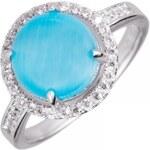 Meucci stříbrný prsten s modrým kamínkem a zirkony SS27R