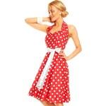 Červené puntíkaté retro šaty