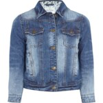 REVIEW Jeansjacke mit Besatz aus floraler Spitze