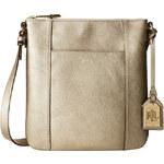 Zlatá kožená kabelka Ralph Lauren Aiden crossbody