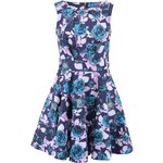 Tmavě modré šaty s růžovými a tyrkysovými květy Closet