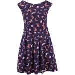 Tmavě modré šaty s motýlky Closet