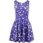 Modré šaty s krémovým potiskem ptáčků Closet