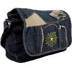 New Berry Látková crossbody riflová taška na rameno s výšivkou