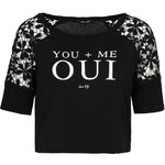 "Tally Weijl Black ""Oui"" Top with Lace"