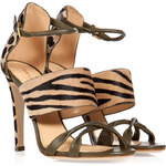 Sergio Rossi Leather/Haircalf Mixed-Media Sandals