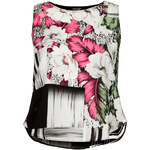 Topshop Floral Grid Split Shell Top