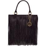 Glamorous by Glam Dámská kožená kabelka s třásněmi tmavě hnědá