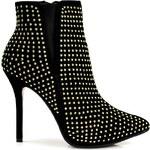 BELLE WOMEN Bombastické černé puntíkované kotníčkové boty